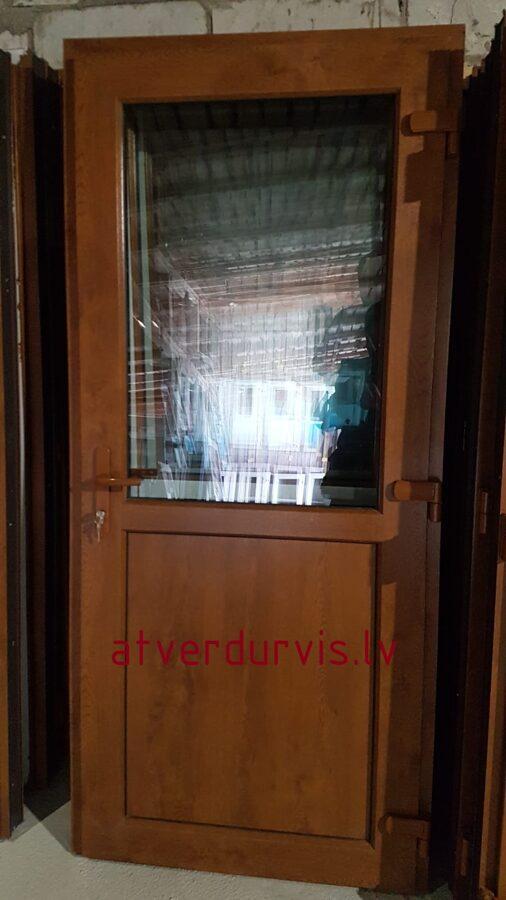 PVC durvis Zelta Ozols ar dalījumu stikls/pildiņš