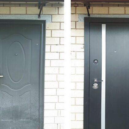 Metāla durvis ar dekoratīvu līsti mājai.